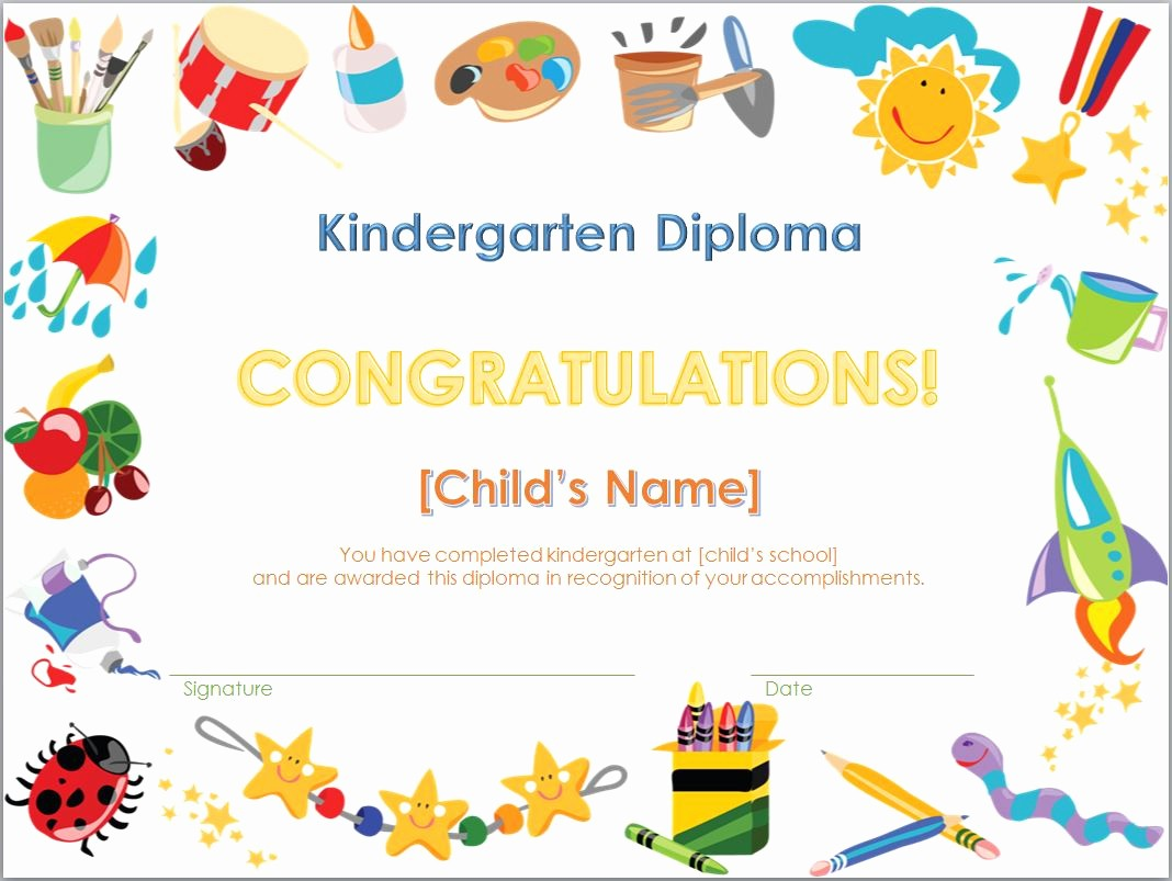 Preschool Graduation Certificate Free Printable Awesome Kindergarten Diploma Template