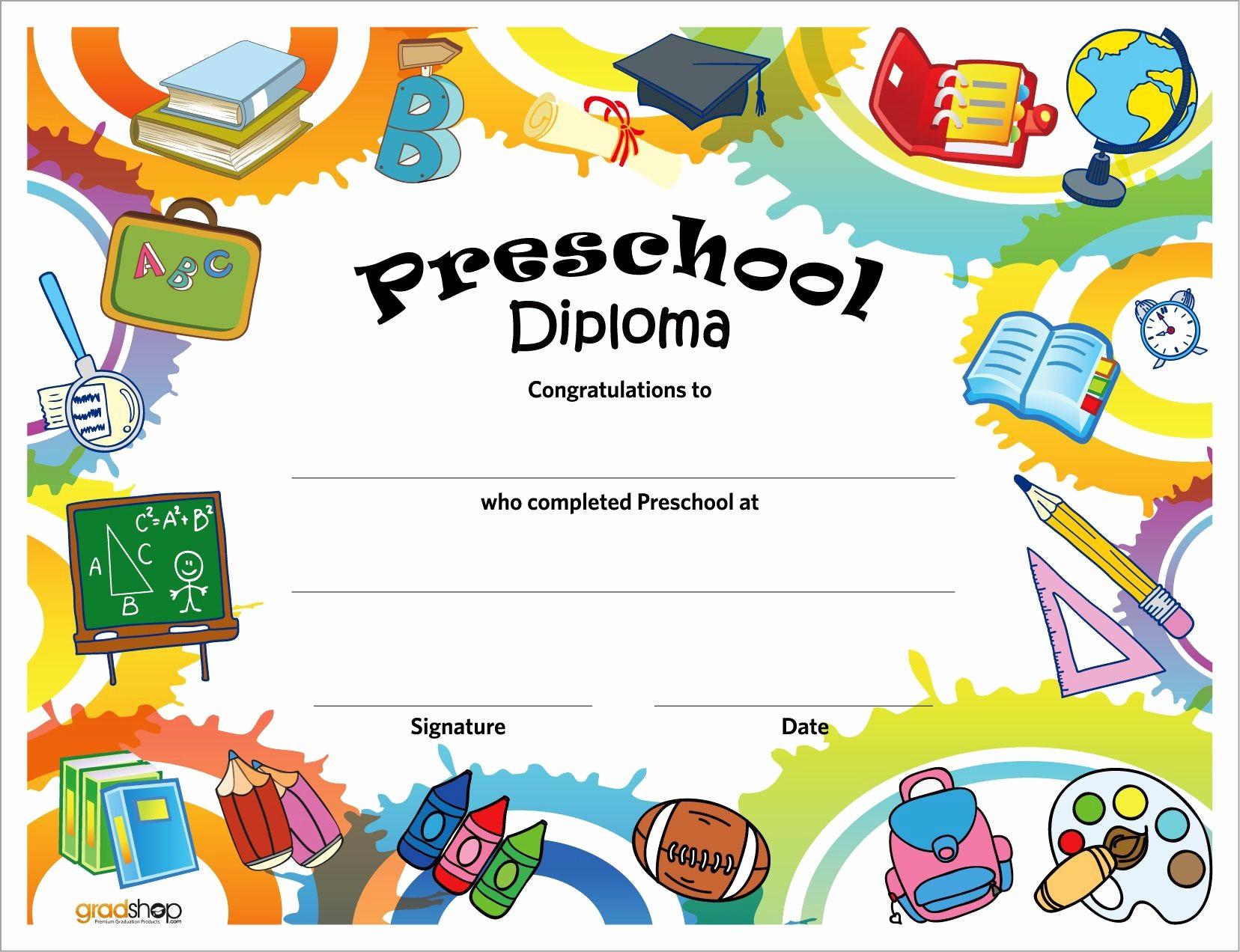Preschool Graduation Certificate Free Printable Elegant Free Printable Preschool Diplomas
