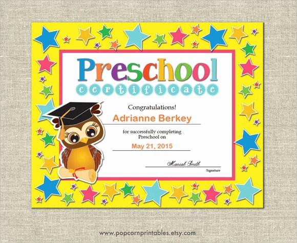 Preschool Graduation Certificate Free Printable Fresh Graduation Certificate Template 9 Premium and Free