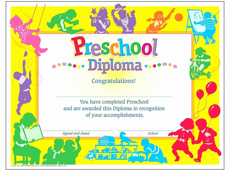 Preschool Graduation Certificate Free Printable New Template Graduation Certificate Template