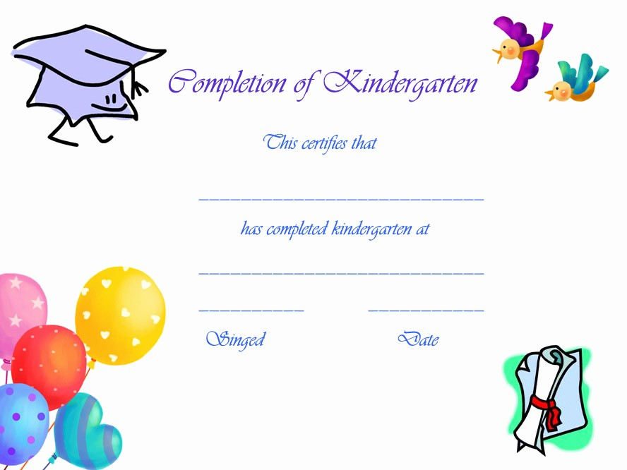 Preschool Graduation Certificate Free Printable Unique 6 Best Of Free Printable Kindergarten Graduation