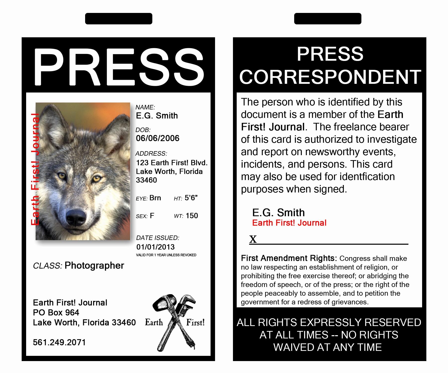 Press Pass Template Microsoft Word Elegant Be E An Earth First News Correspondent