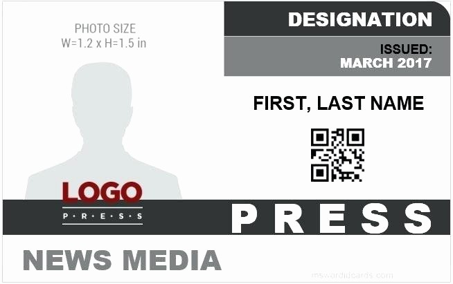 Press Pass Template Microsoft Word Unique Press Pass Template Word Fake Credentials Card Design
