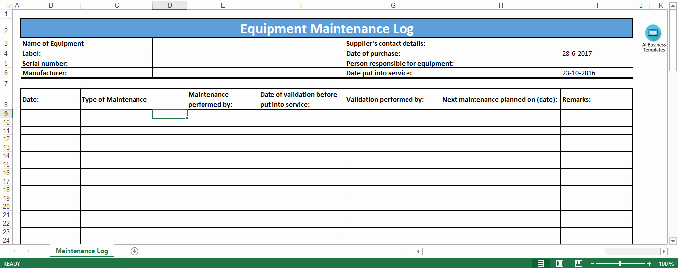 Preventive Maintenance Schedule Template Excel Awesome Gratis Equipment Maintenance Log Excel Template