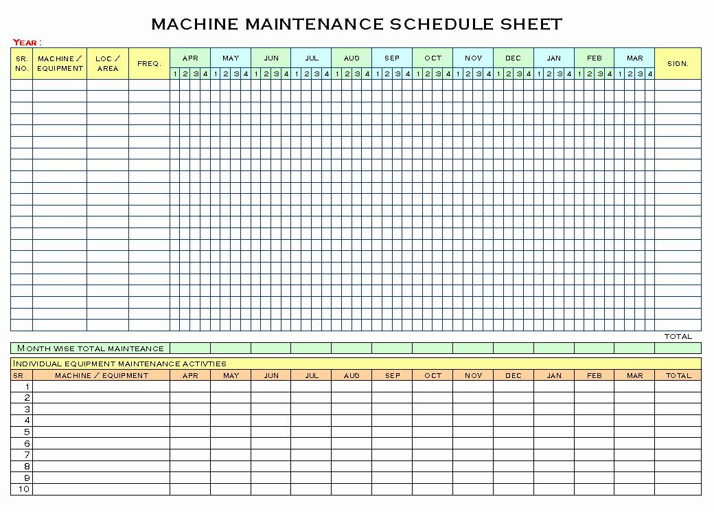 Preventive Maintenance Schedule Template Excel Fresh Equipment Maintenance Schedule Template Excel