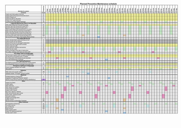 Preventive Maintenance Schedule Template Excel Inspirational Preventive Maintenance Schedule Template