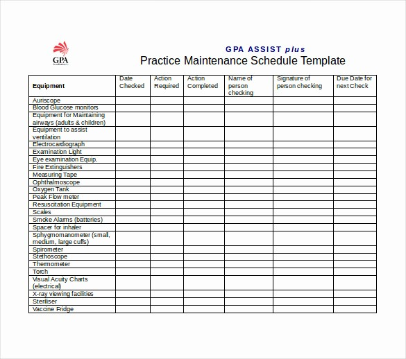 Preventive Maintenance Schedule Template Excel Lovely Equipment Maintenance Schedule Template Excel