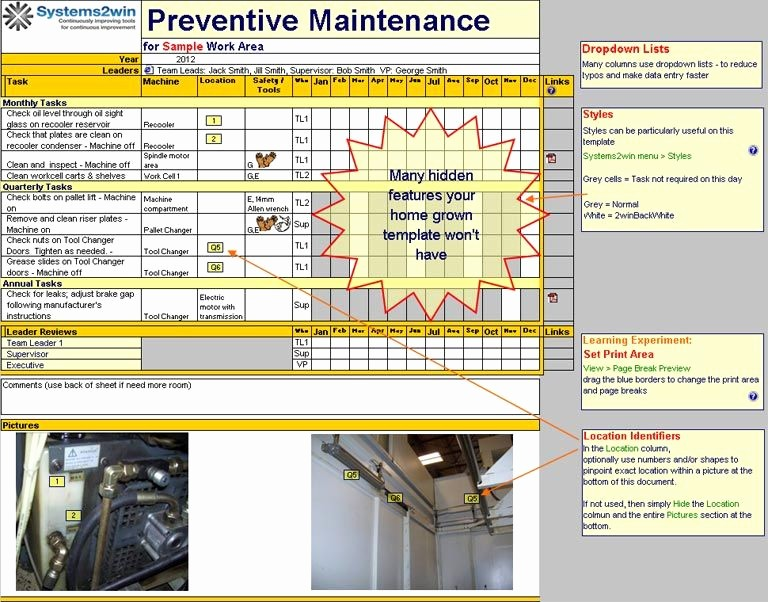 Preventive Maintenance Schedule Template Excel Lovely Preventive Maintenance Checklist Excel Template for Tpm