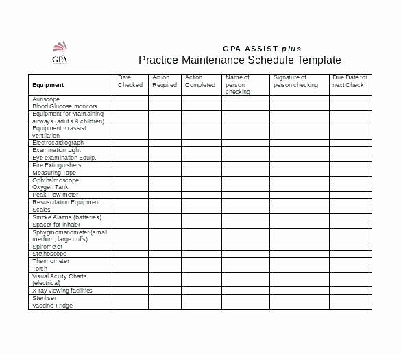 Preventive Maintenance Schedule Template Excel Lovely Preventive Maintenance Templates Spreadsheet Auto Schedule