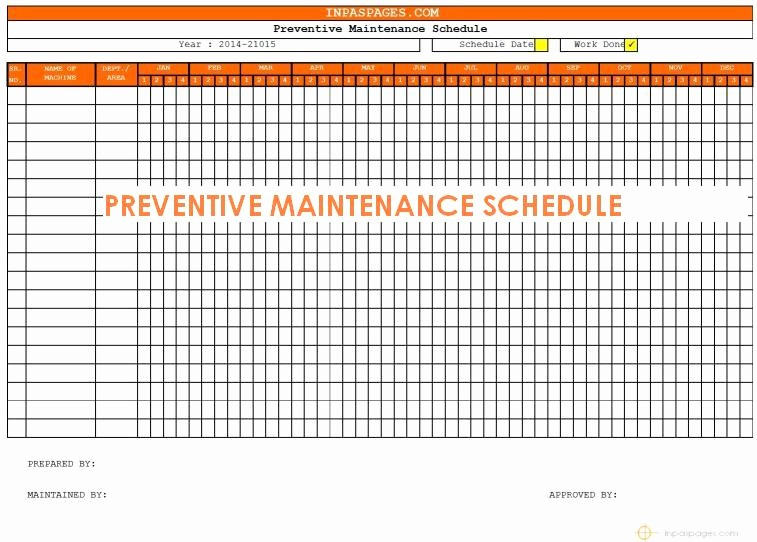 Preventive Maintenance Template Excel Download Beautiful Free Preventive Maintenance Schedule Template