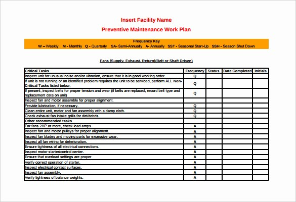Preventive Maintenance Template Excel Download Elegant 37 Preventive Maintenance Schedule Templates Word