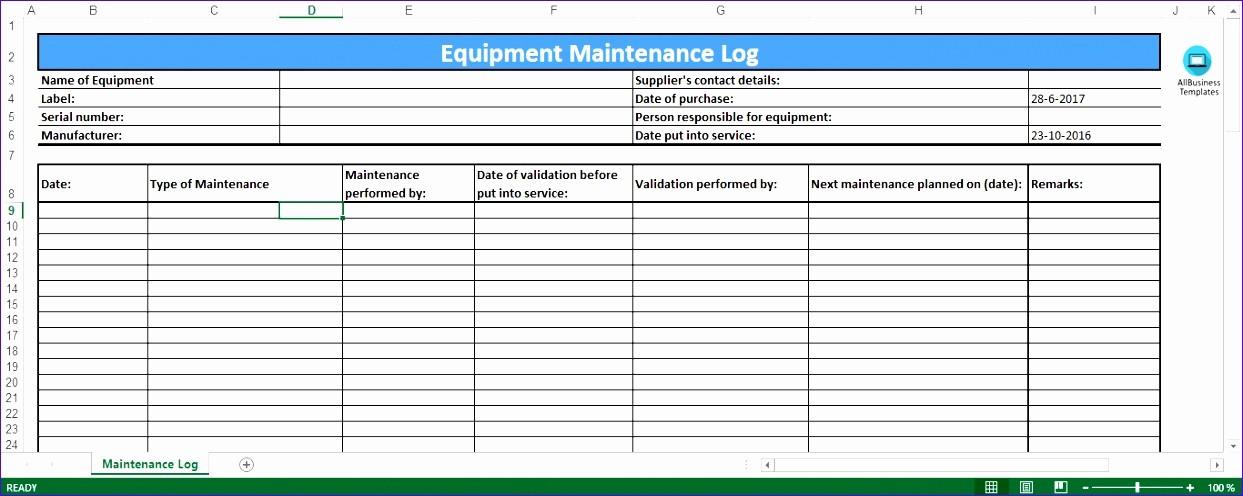 Preventive Maintenance Template Excel Download Luxury 6 Preventive Maintenance Template Excel Exceltemplates