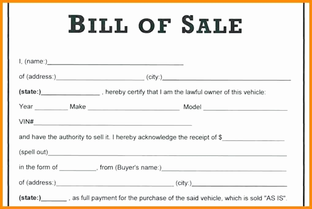 Print Bill Of Sale Car Inspirational 15 as is Vehicle Bill Of Sale Template