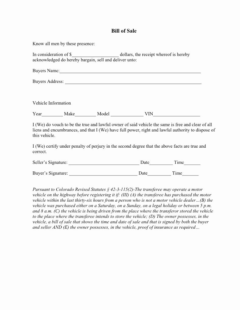 Print Bill Of Sale Car Inspirational Free Colorado Vehicle Bill Of Sale form Download Pdf