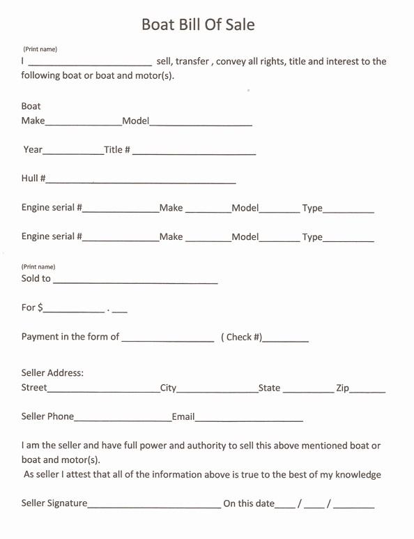 Print Free Bill Of Sale Elegant Free Printable Boat Bill Sale form Generic