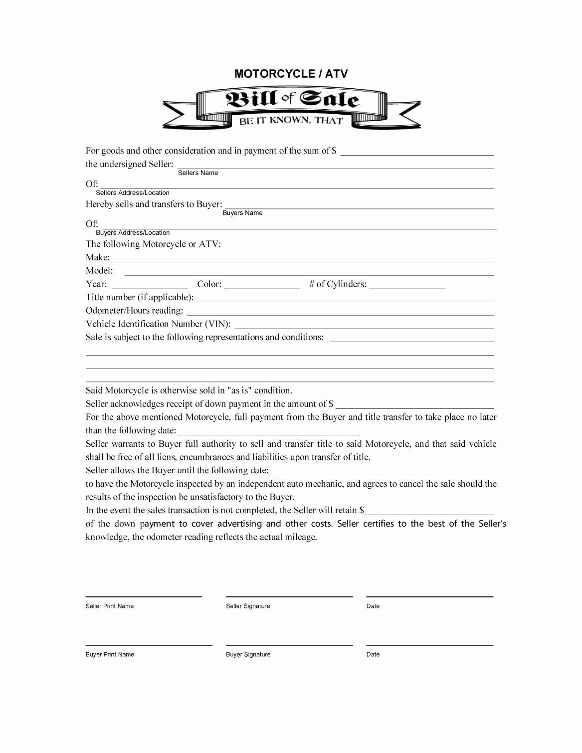 Print Free Bill Of Sale New 45 Fee Printable Bill Of Sale Templates Car Boat Gun