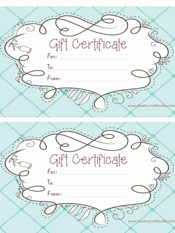 Print Gift Certificates Free Templates Luxury Light Blue T Certificate Template with A Cute Design