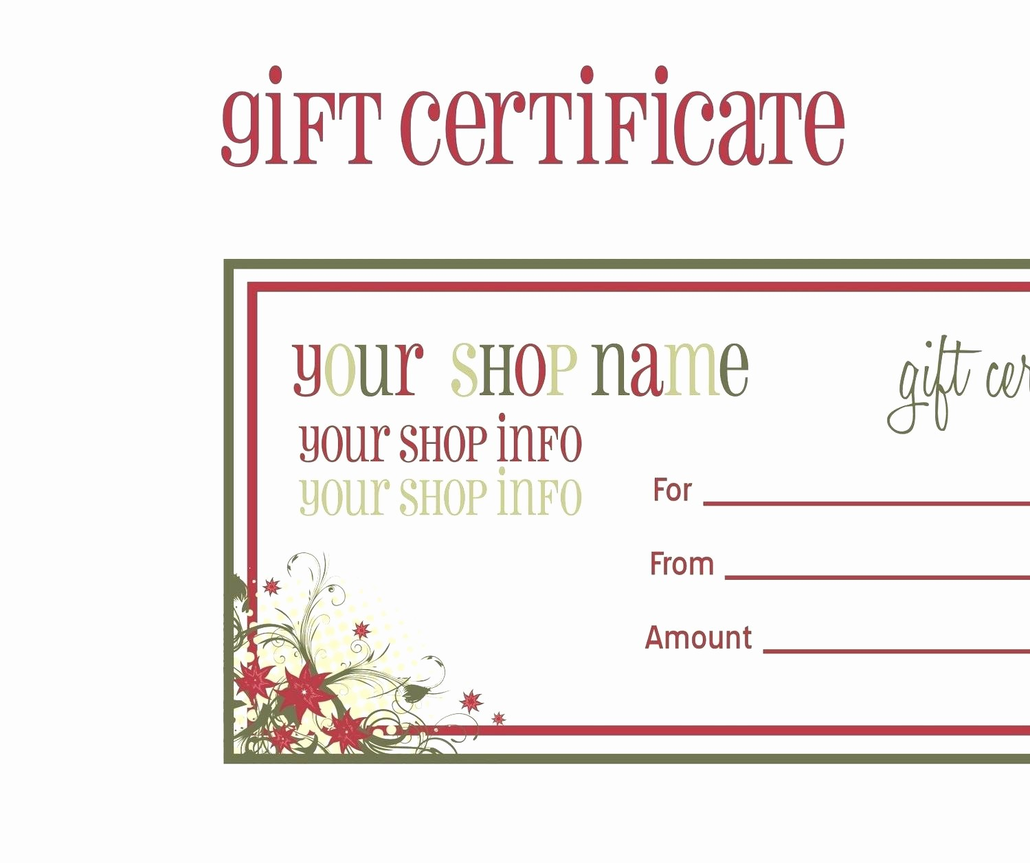 Print Gift Certificates Free Templates Unique Template Shopping Spree Certificate Template