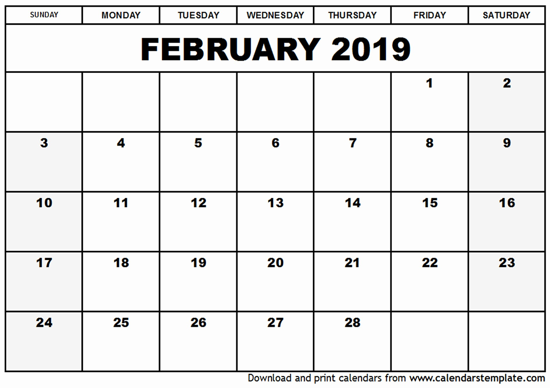 Printable 12 Month Calendar 2019 Awesome February 2019 Calendar Template – Month Printable Calendar