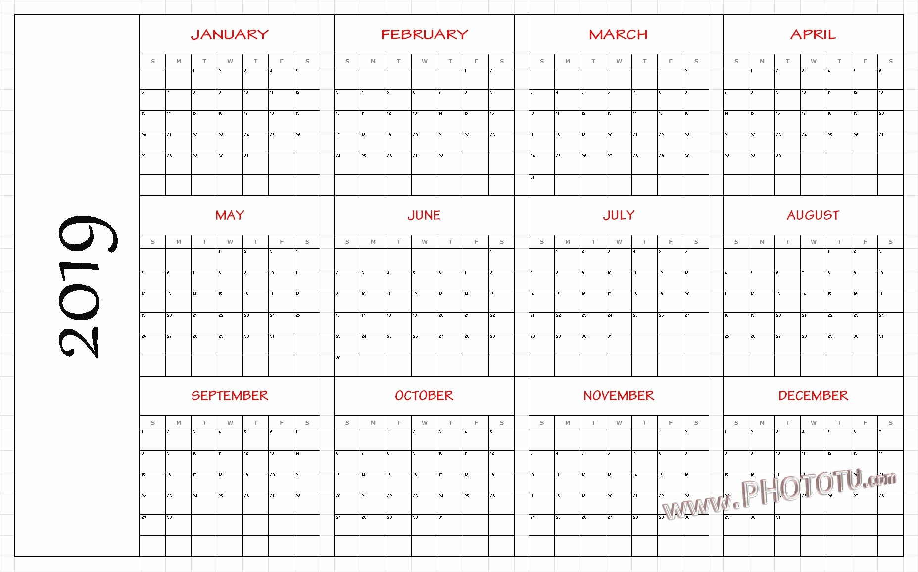 Printable 12 Month Calendar 2019 Awesome Monthly 2019 Holidays Calendar Templates