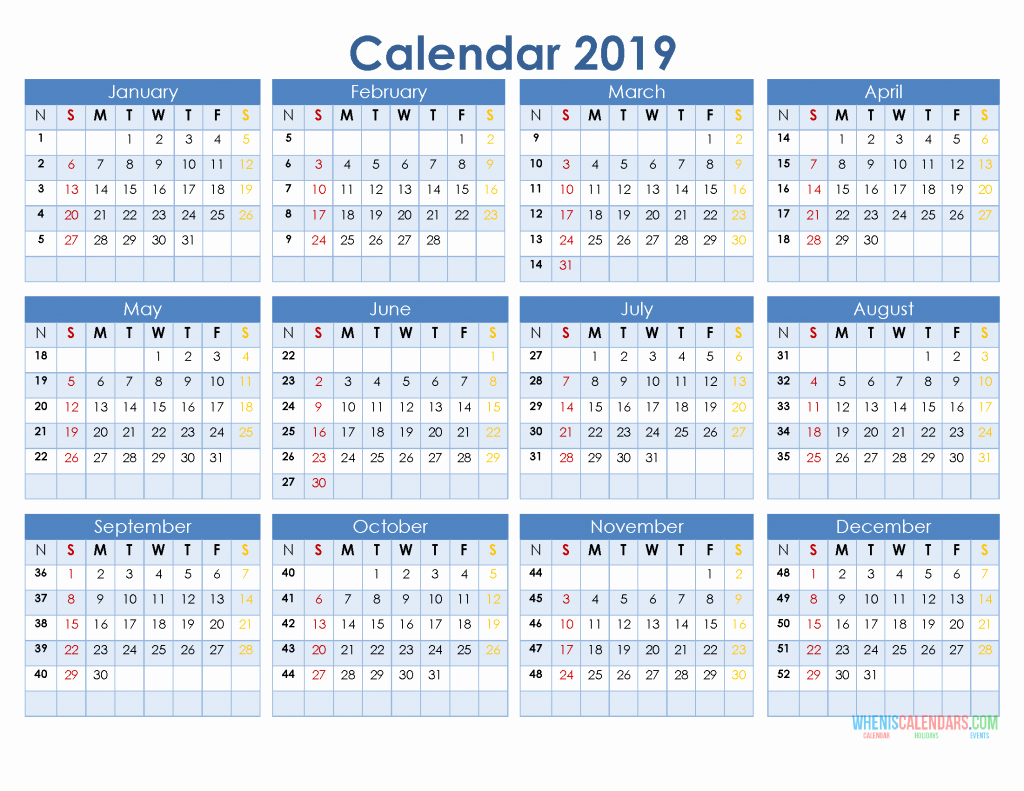 Printable 12 Month Calendar 2019 Elegant 2019 12 Month Calendar Template In A E Page Printable