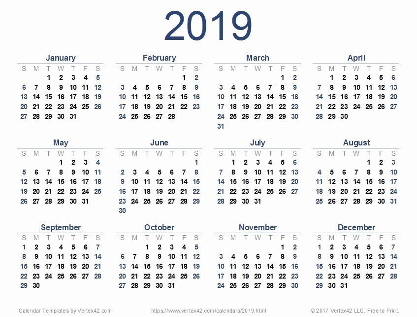 Printable 12 Month Calendar 2019 Elegant Printable 12 Month Calendar 2019 2019 Calendar Templates