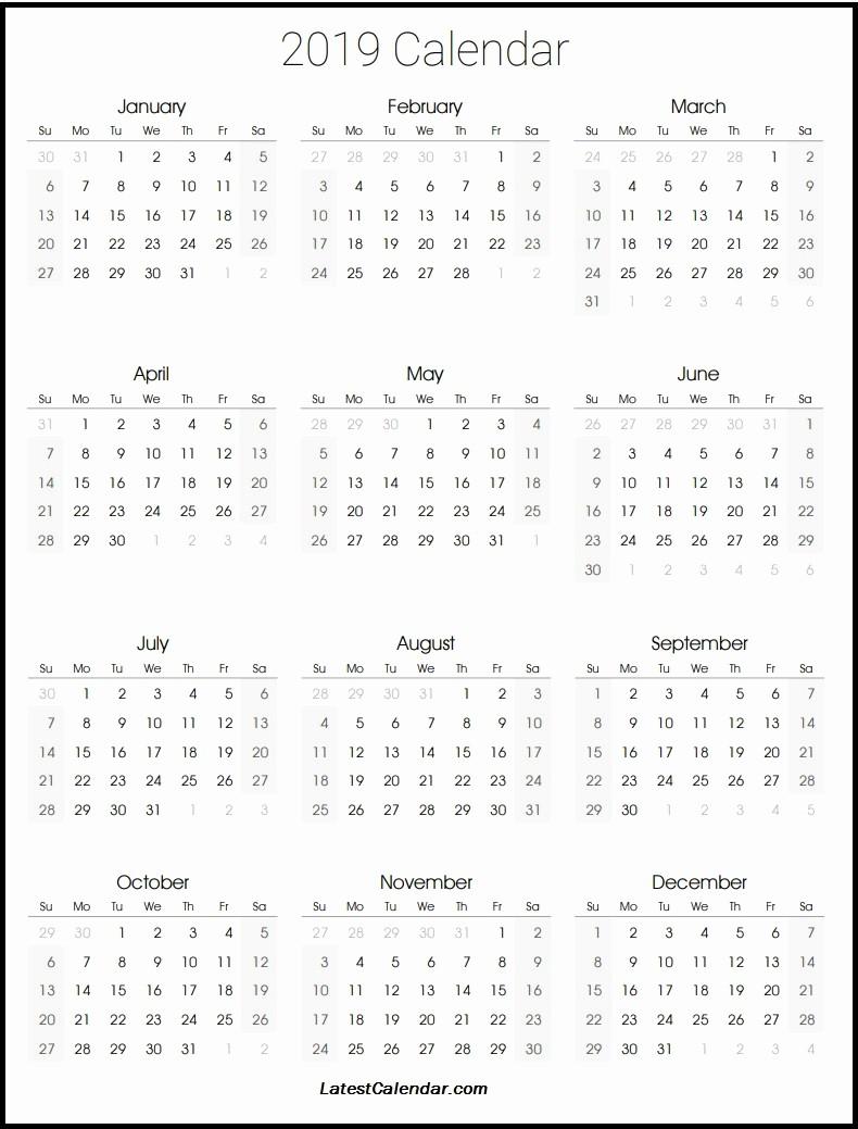 Printable 12 Month Calendar 2019 Fresh 2019 12 Month Calendar Printable 2019 Printable Calendar
