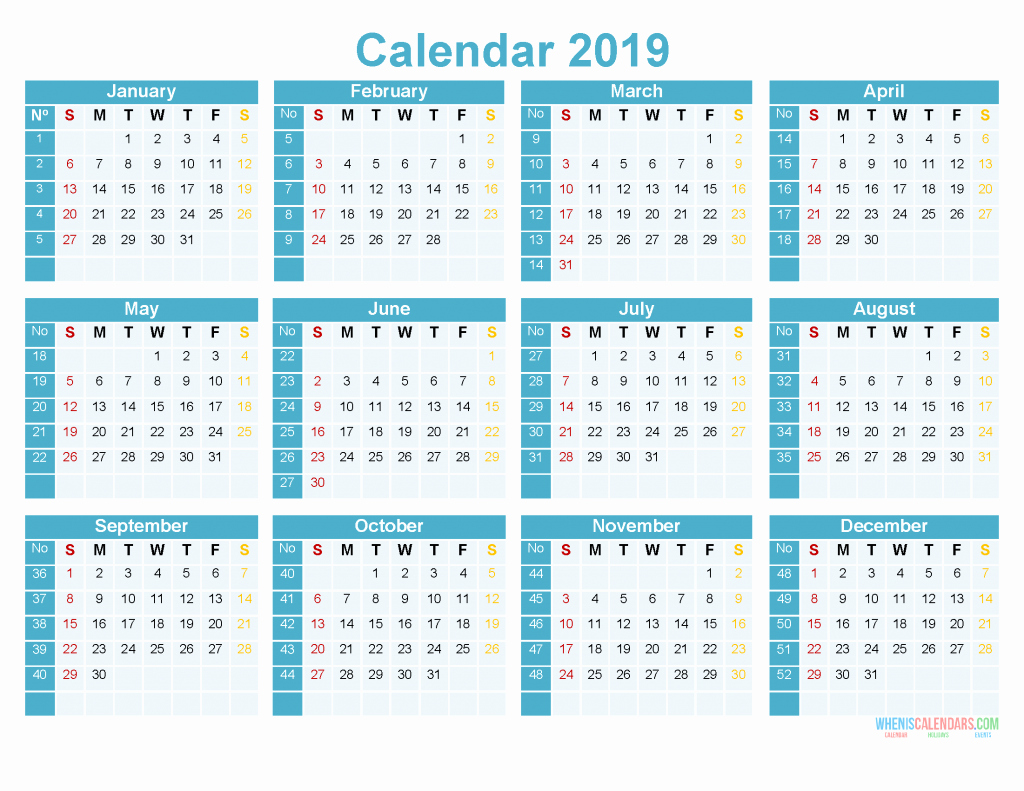 Printable 12 Month Calendar 2019 Fresh 2019 Printable Yearly Calendar 12 Month On 1 Page [us