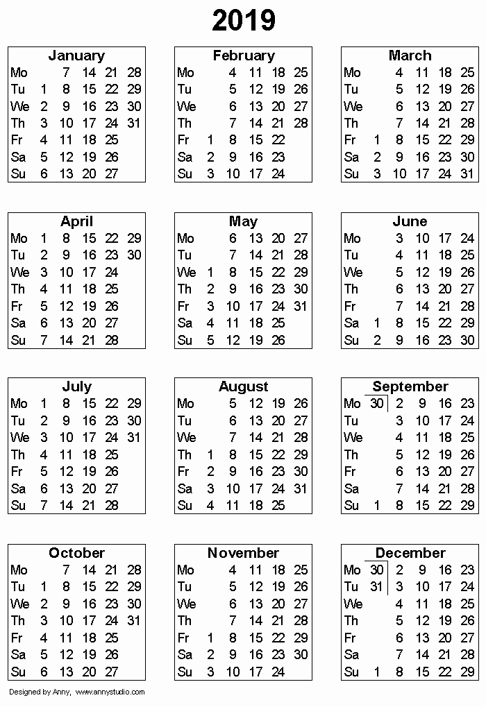 Printable 12 Month Calendar 2019 Fresh Free Printable Calendars and Planners 2019 2020 2021