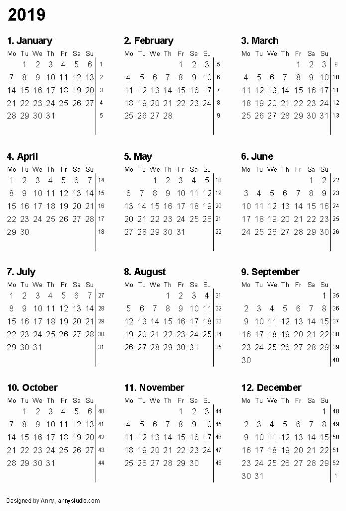 Printable 12 Month Calendar 2019 Inspirational 12 Month Calendar 2019 Printable