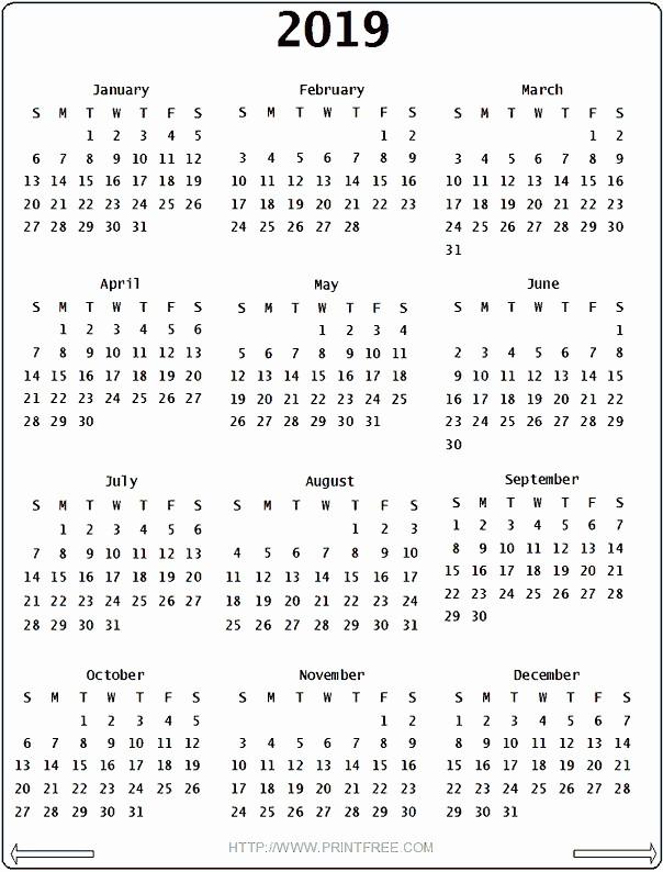 Printable 12 Month Calendar 2019 Lovely Awesome Printable 12 Month Calendar 2019