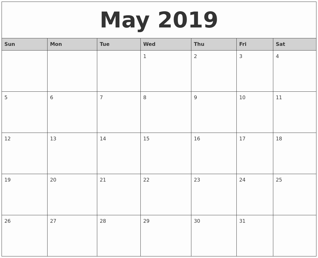 Printable 12 Month Calendar 2019 Lovely May 2019 Calendar Word – Printable Calendar Templates