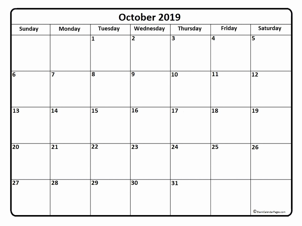 Printable 12 Month Calendar 2019 Lovely October 2019 Calendar Template