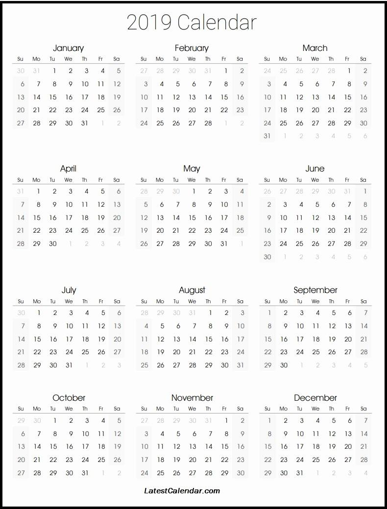 Printable 12 Month Calendar 2019 Luxury 2019 Printable Calendar
