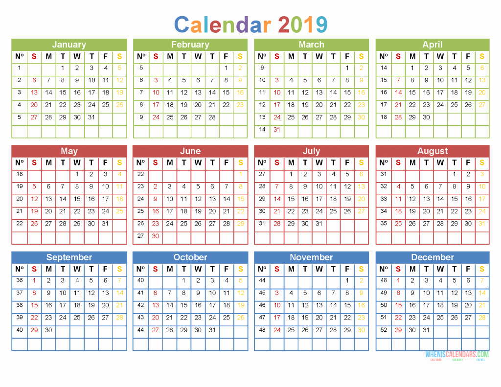 Printable 12 Month Calendar 2019 Luxury Printable Yearly Calendar 2019 12 Month On 1 Page [ Us