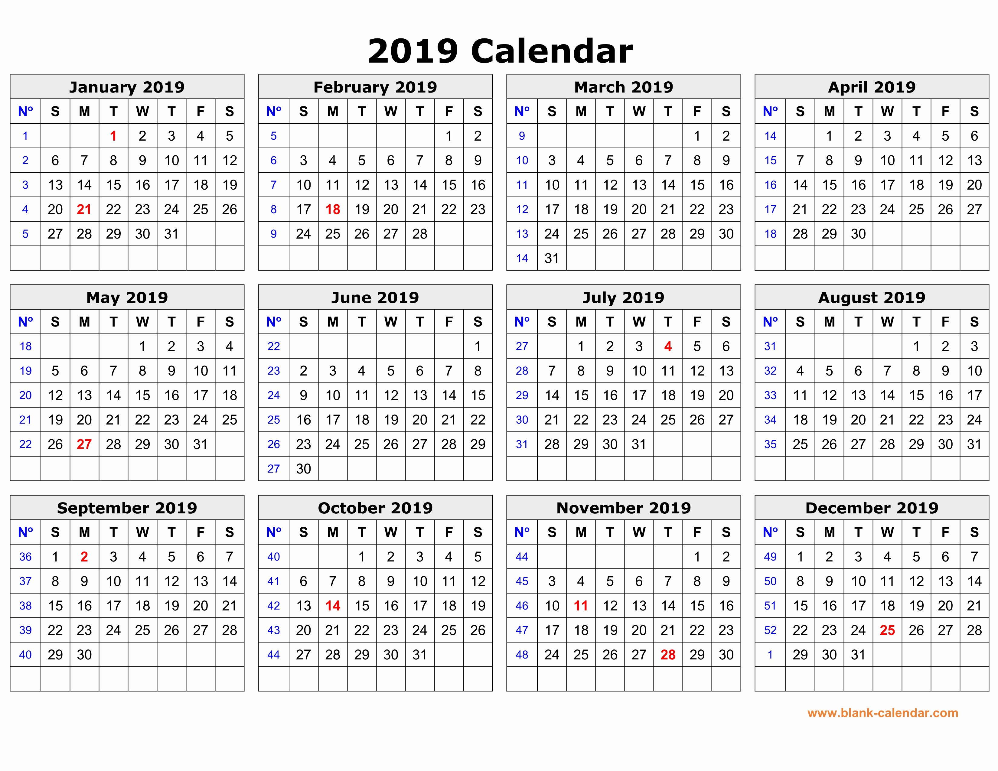 Printable 12 Month Calendar 2019 New Free Download Printable Calendar 2019 In One Page Clean