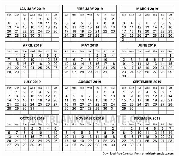 Printable 12 Month Calendar 2019 New Print 12 Months Calendar Template