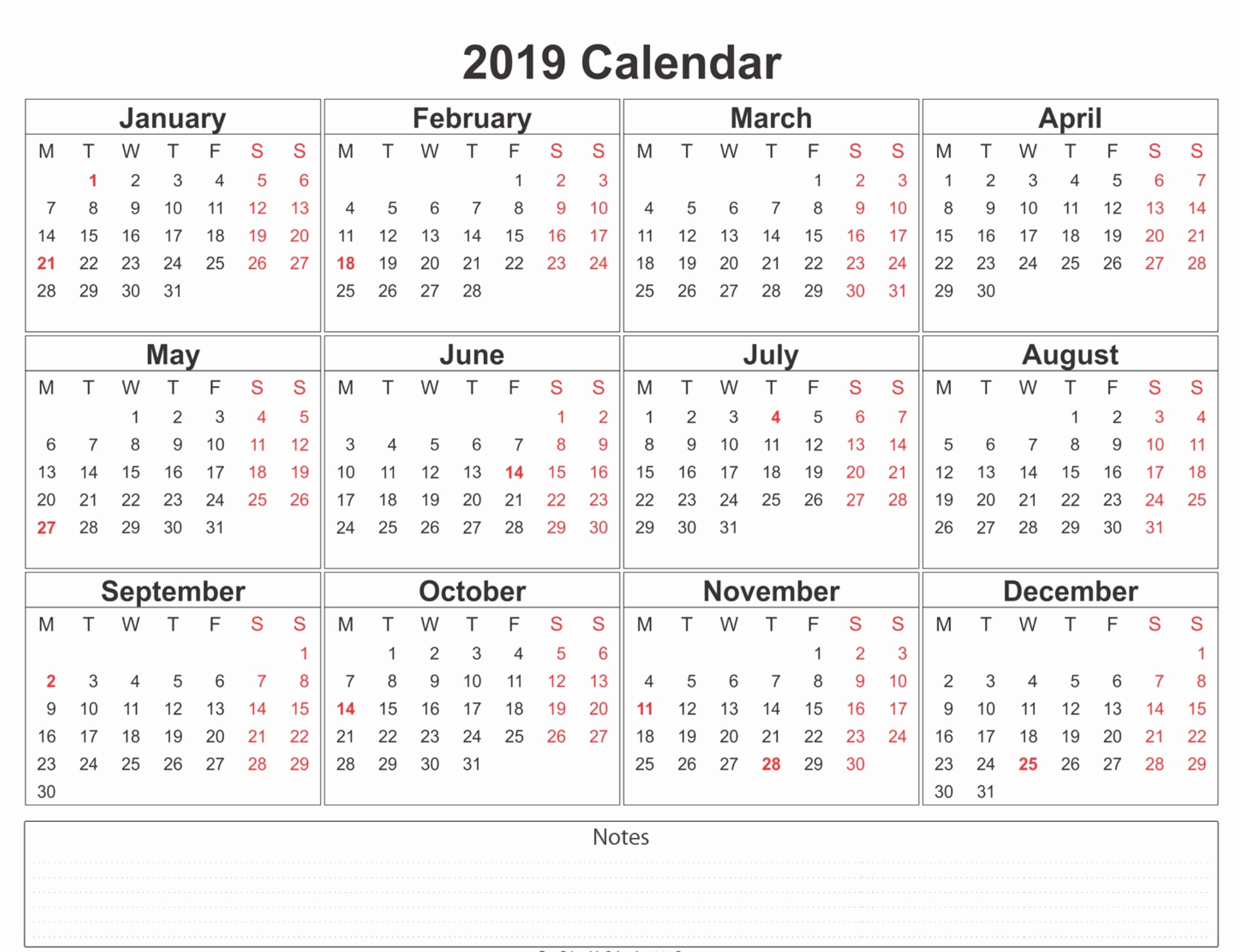 Printable 12 Month Calendar 2019 Unique 2019 Calendar Holidays Usa India Uk Canada Australia