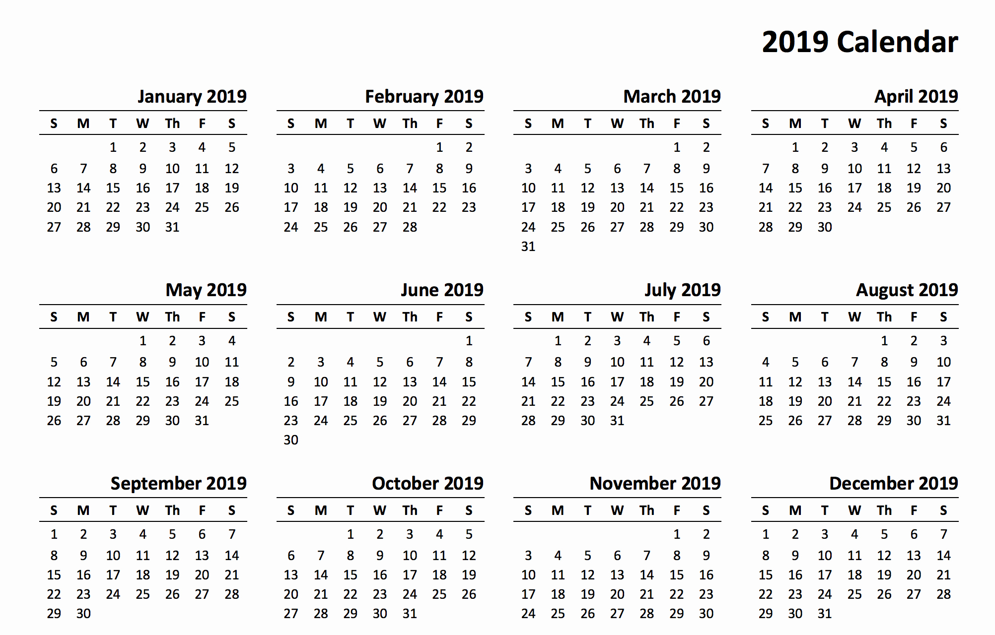 Printable 12 Month Calendar 2019 Unique 2019 Year Calendar Free Printable Swifte
