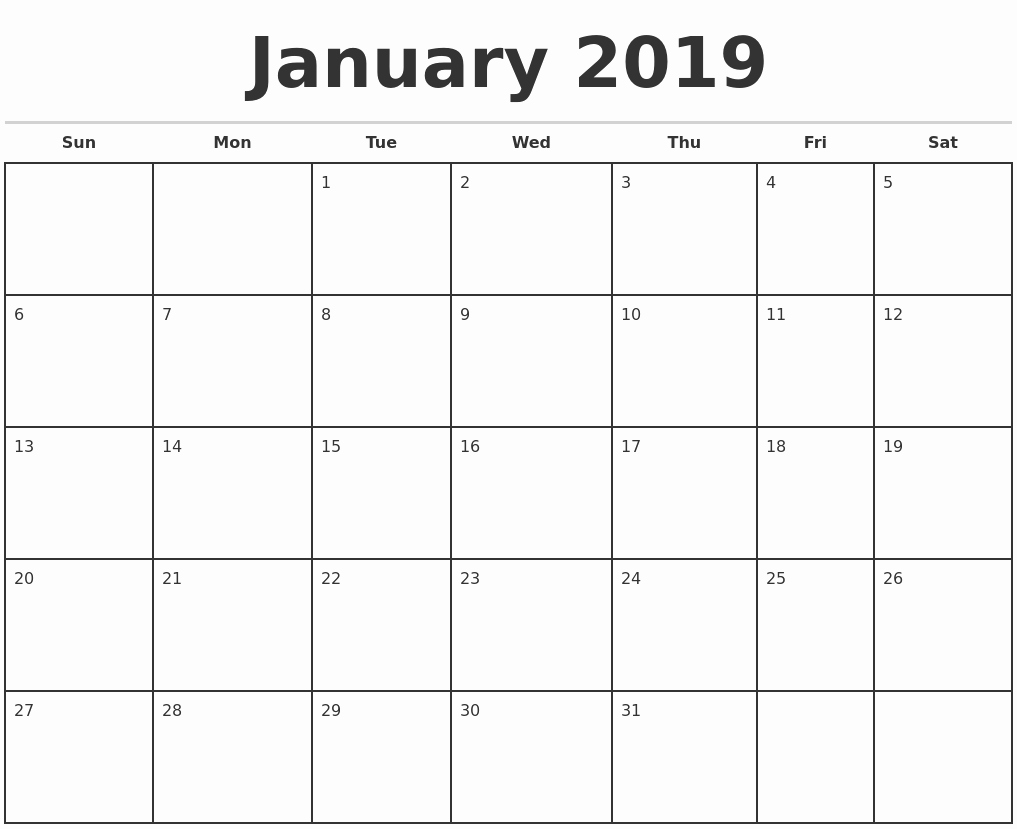 Printable 12 Month Calendar 2019 Unique Blank Monthly Calendar 2019 – Printable Calendar Templates