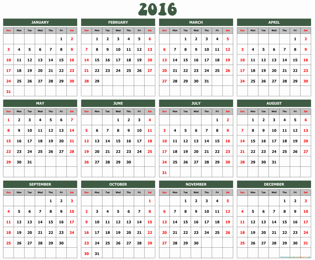 Printable 2016 Calendars with Holidays Awesome 2016 Yearly Calendar Printable Archives Free Printable