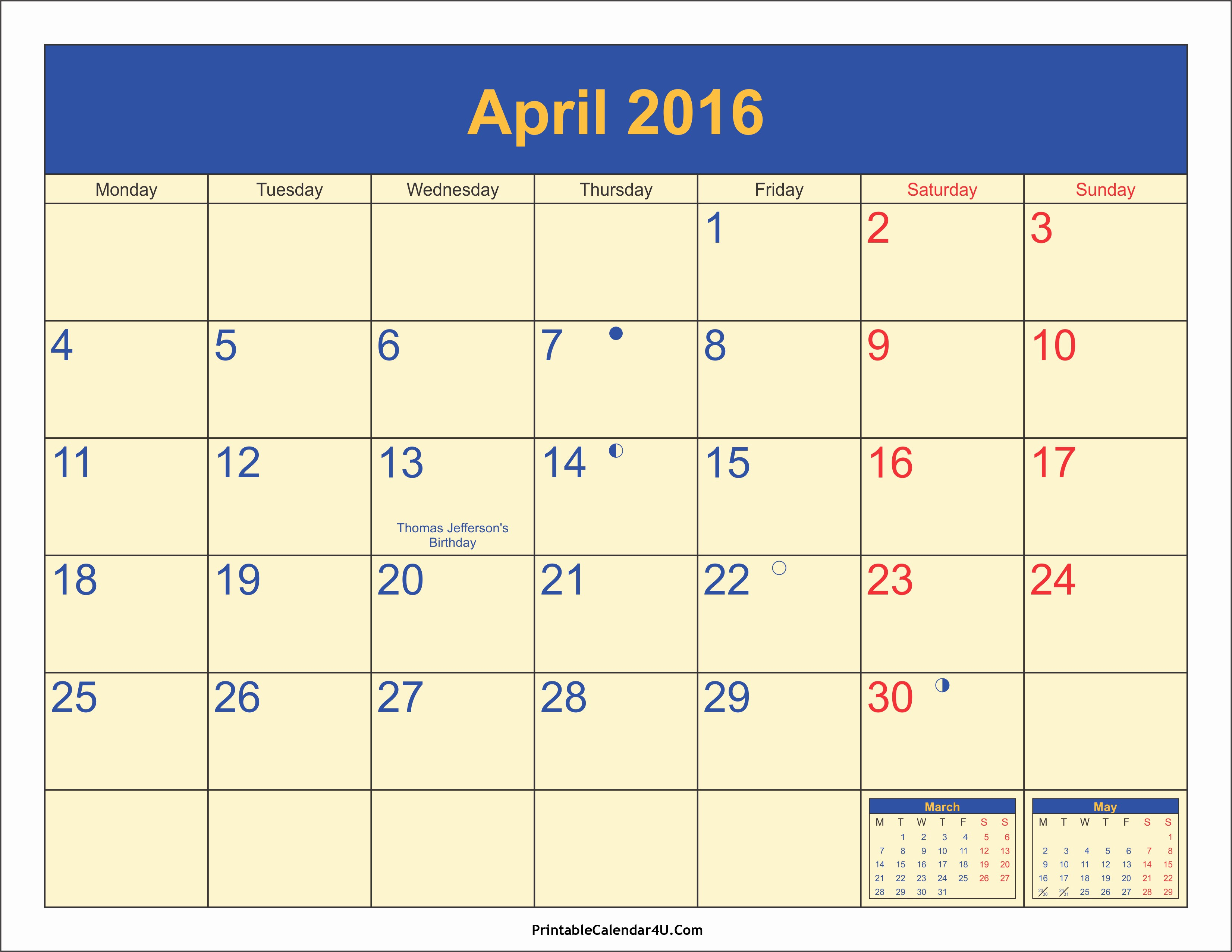Printable 2016 Calendars with Holidays Awesome April 2016 Calendar Printable with Holidays Pdf and Jpg