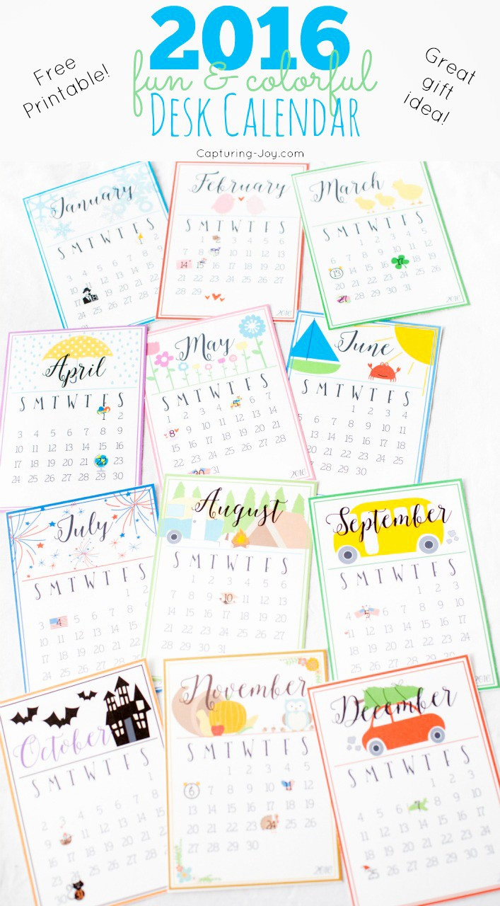 Printable 2016 Calendars with Holidays Awesome Cute and Colorful 2016 Desk Calendar Capturing Joy with