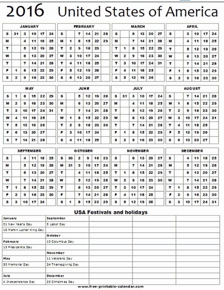 Printable 2016 Calendars with Holidays Awesome Free Printable 2016 Calendar with Holidays