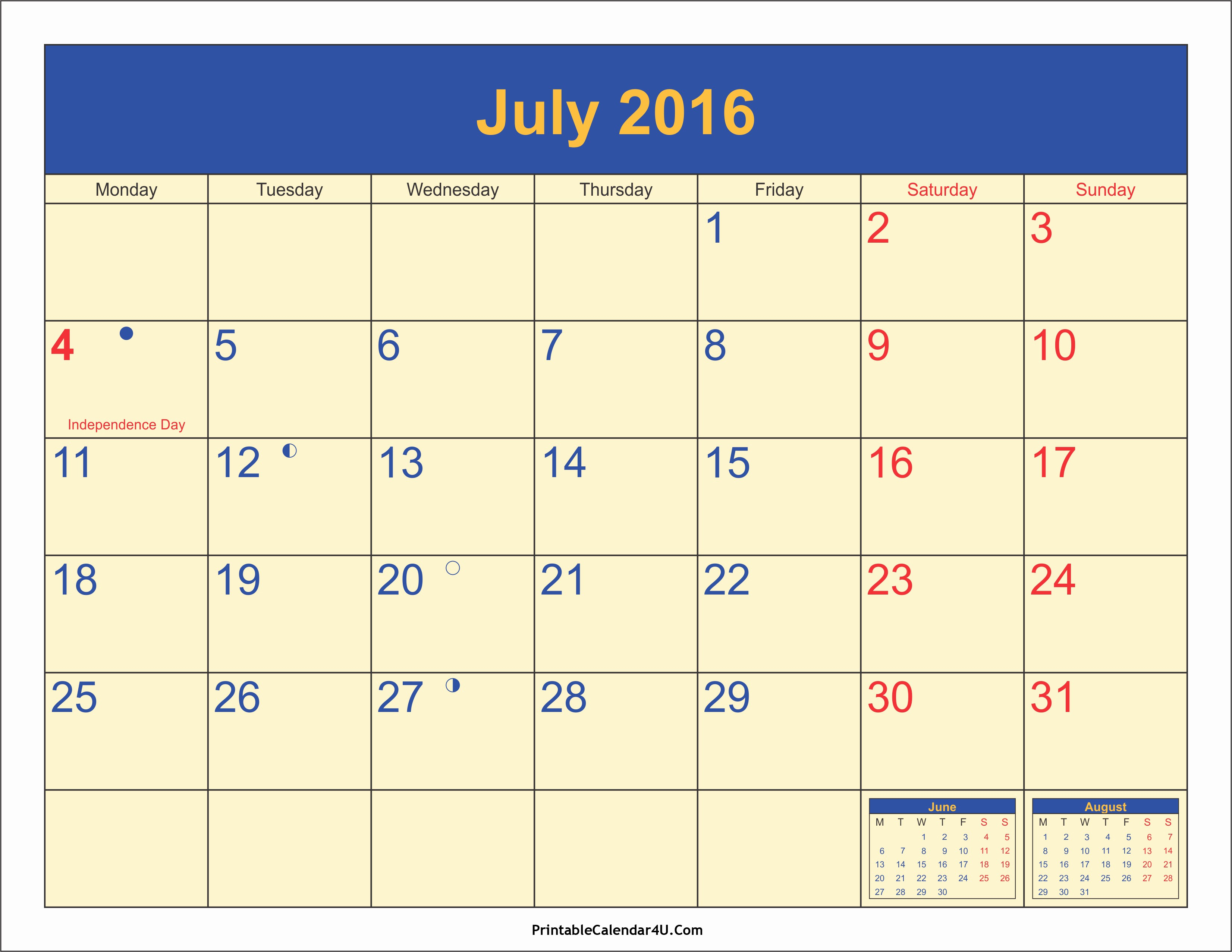 Printable 2016 Calendars with Holidays Awesome July 2016 Calendar Printable with Holidays Pdf and Jpg