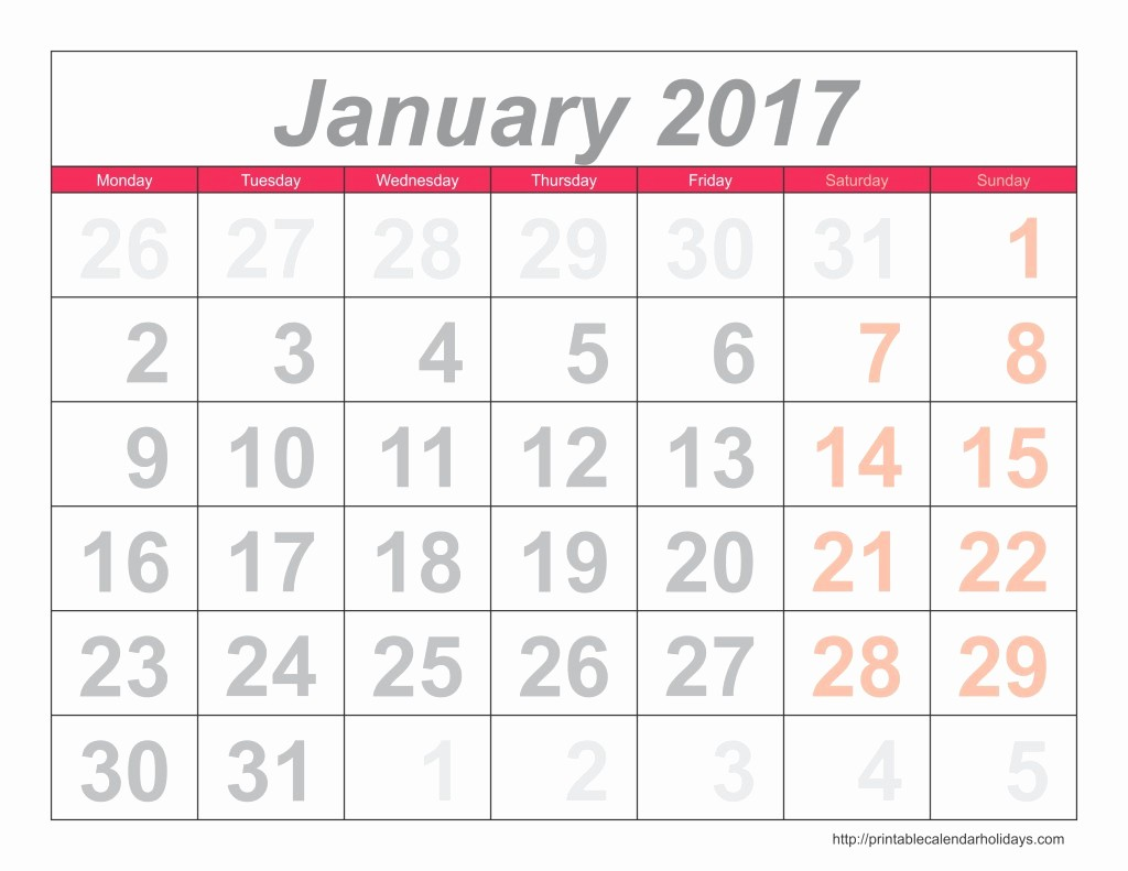 Printable 2016 Calendars with Holidays Awesome Monthly Calendar 2017 Archives Free Printable Calendar