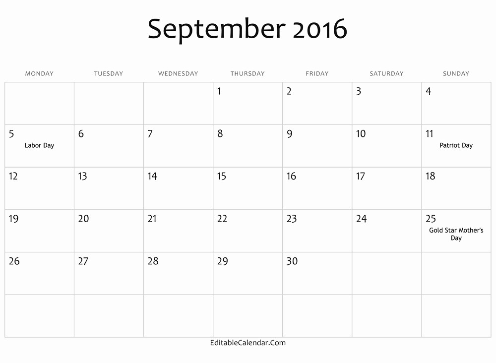 Printable 2016 Calendars with Holidays Awesome September 2016 Printable Calendar with Holidays Calendar