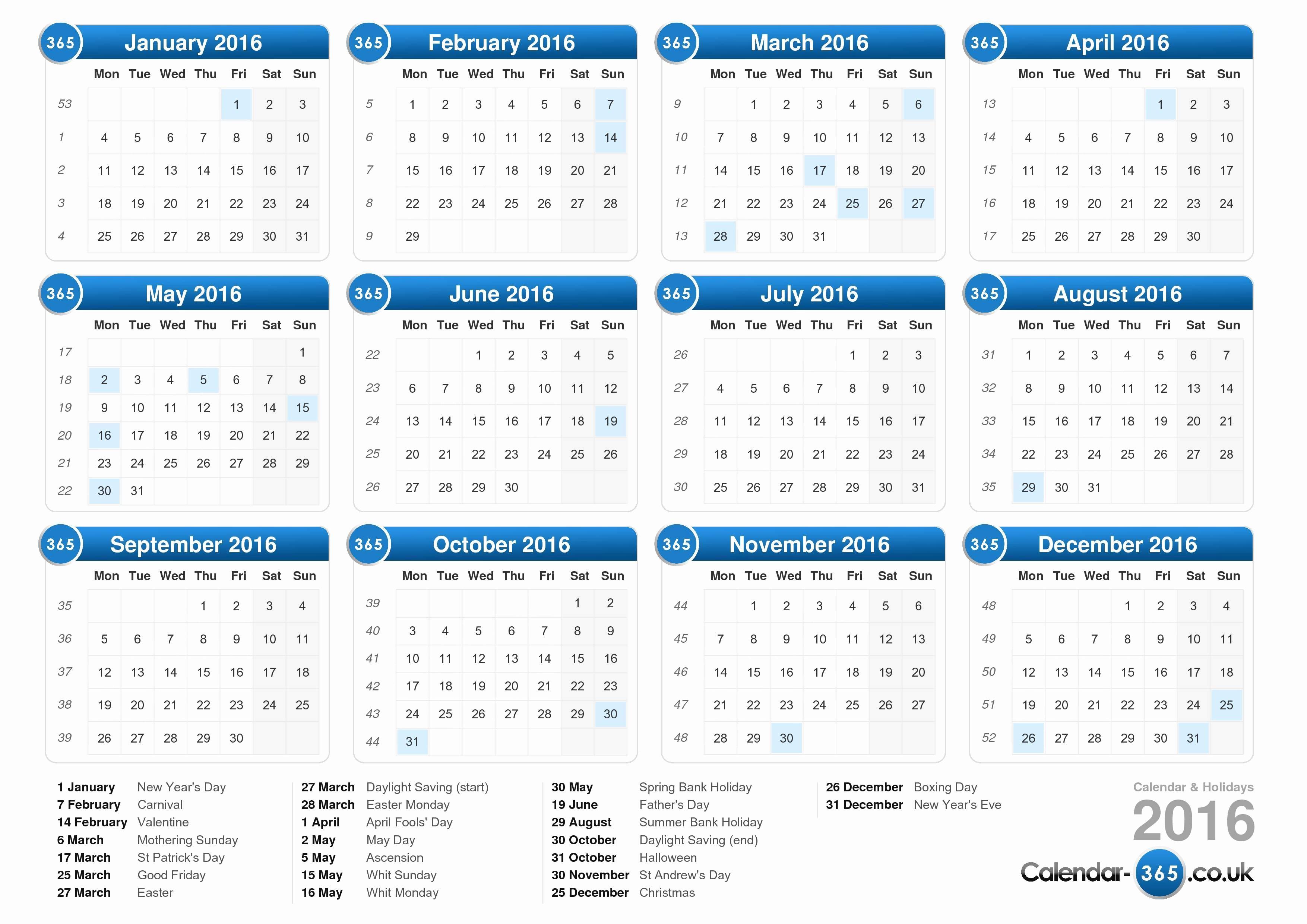 Printable 2016 Calendars with Holidays Beautiful Calendar 2016