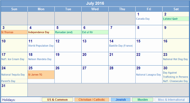 Printable 2016 Calendars with Holidays Beautiful July 2016 Holiday Calendar