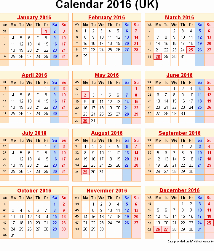 Printable 2016 Calendars with Holidays Best Of 2016 Calendar with Federal & Bank Holidays